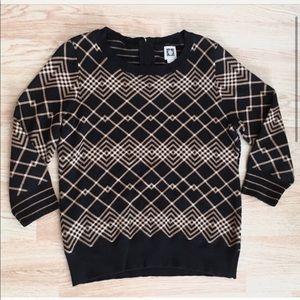 Anne Klein Black Gold / Tan Stripes Plaid Sweater